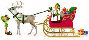 Elf driving Sleigh
