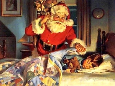 Old Fashioned Santa and Child