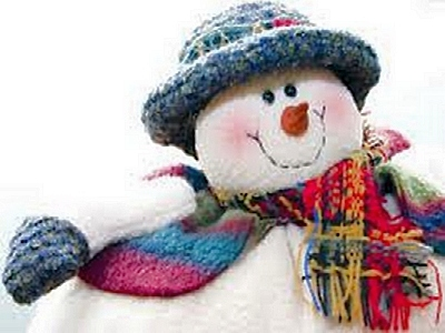 Snowman in blue hat and scarf