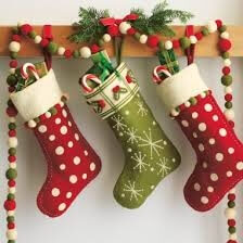 Christmas Stockings with a Garland