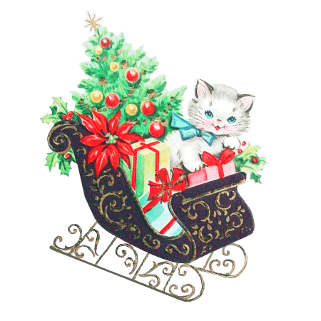 Christmas Cat in Sled